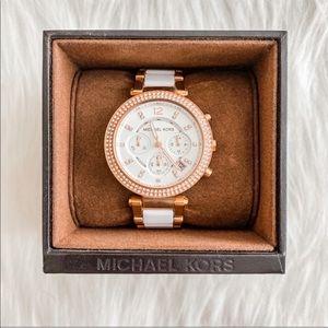 [michael kors] white/rose gold big face watch